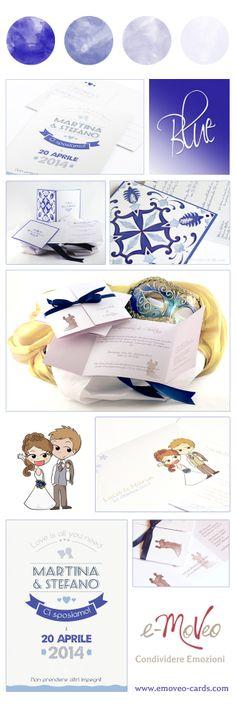 Blue Wedding Invitation Cards by e-MoVeo Cards. Hochzeit in Blau - Matrimonio in blu www.emoveo-cards.com