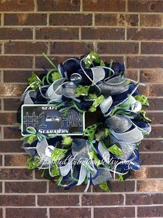 Seattle SEAHAWKS Deco Mesh Wreath by SparkledIntentions on Etsy, $95.00