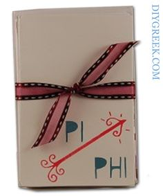 "Know that some sororities have a ""stationary"" day leading up to their Big Reveal. These are the EASIEST project using the Stencils from DIY Greek. Seriously, you could finish a package of eight cards in five minutes. Tie with the ribbon from the Supply Sack and done! Pi Phi, Pi Beta Phi"
