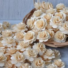150 Pcs -Birch Wood Shavings Crafted Flowers - Natural