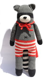 Randy Raccoon - Hand Knit Organic Cotton. $40.00, via Etsy.