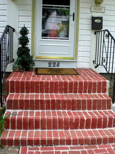 Painted Faux Brick - over concrete porch and walkway - love this idea! by The Painted Home: {Faux Brick Walkway} - #porch #walkway #painting #faux #brick #exterior #DIY #landscaping - tå√