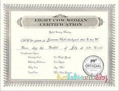 Relief Society Activity, 8 Cow Woman, Relief Society Ideas Certification invitation
