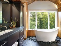 tub on a bed of rocks
