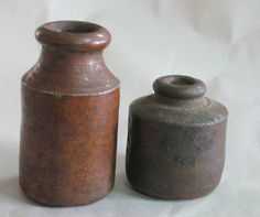 Two Vintage Pottery Stoneware Ink wells bottles