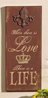New Fleur de Lis Plaque Wood French Country Love Life Wall Decor Accent Burgundy | eBay