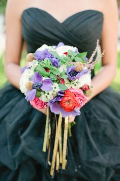 red and purple bouquet // photo by Chelsey Boatwright Photography