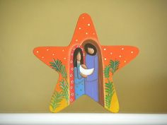 Nativity scene with a Star, hand made in wood