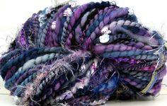HandSpun Art Yarn Merino Wool Hello Midnight Kitty Grrlz FunctionArt Art Yarn 60 yards