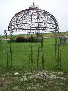 Wrought Iron Round Flower Arbor, Garden Gazebo Trellis - Pergola Arch