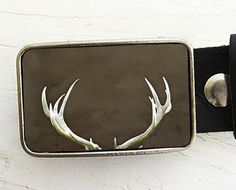 Deer Antler Belt Buckle - rustic warm brown - gifts for men and women under 30 - Collaboration with Bmused