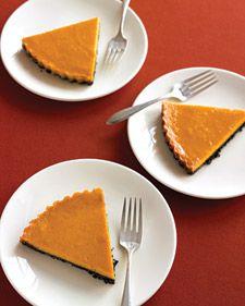 Chocolate-Pumpkin Tart.  Love this b/c I hate pumpkin pie crust!