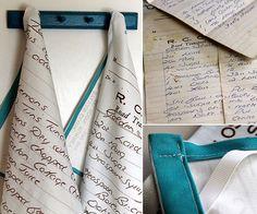 turn handwritten recipes into tea towels