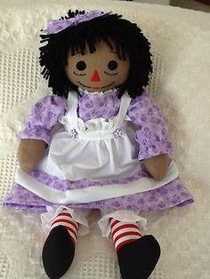 Handmade Black Raggedy Ann doll, purple print dress