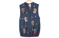 Teddy Bears Tacky Ugly Christmas Sweater Vest Women's Plus Size 2X $25