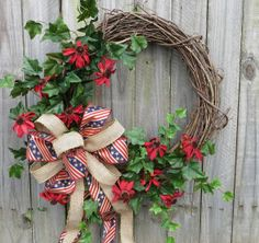 Fourth of July Wreath  Patriotic July 4th Wreath  by HornsHandmade, $51.00