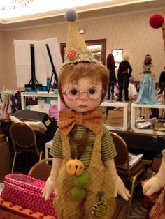 Nikki Britt Studio's MSD BJD Peter Pickle as a clown  at BJDC 2014 Austin, TX Clown outfit by Sweet Creations, aged by Nikki.