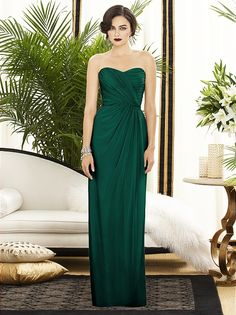 Deep rich green long chiffon dresses! After all, I do adore gold as accent, and fall weddings. Beautiful bridesmaids dress.