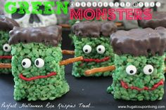 little Green Monsters- Frankenstein Rice Krispie Treats for the Halloween Season. Great Kids Food Craft, fun for October Parties nad Festivities http://www.frugalcouponliving.com/2013/10/20/green-marshmallow-treat-monster-halloween-frankenstein-rice-krispies/