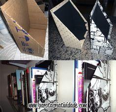 #DIY Porta-livros feito de caixa de papelão.