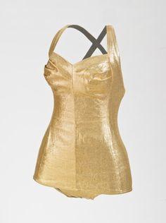 Swimsuit, Margit Fellegi (Hungary, active United States, California, Los Angeles, 1903-1975) for Cole of California (United States, California, Los Angeles, founded 1925): ca. 1950-1951, lamé lastex, cotton.