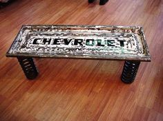 project, coffee tables, idea, old trucks, tailgat bench