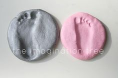 Salt Dough Footprint Keepsakes - 1/2 cup salt, 1/2 cup flour, 1/4 cup (give or take) water. Knead until dough forms. Make impression. Bake at 200 for 3 hours. -- lets make some memories