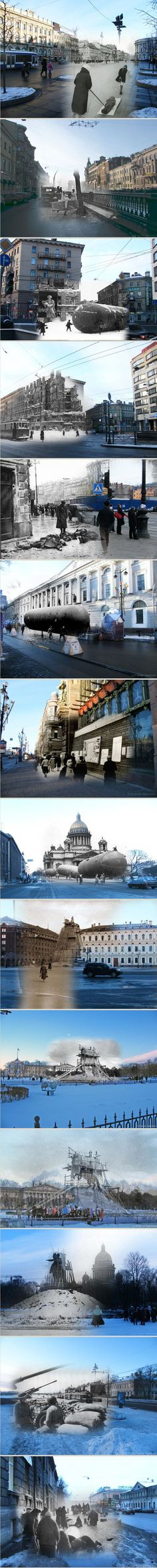 Photographs taken during the Siege of Leningrad superimposed on contemporary photos of the same locations (by Sergei Larenkov). —[From English Russia, via The Long Now http://blog.longnow.org]