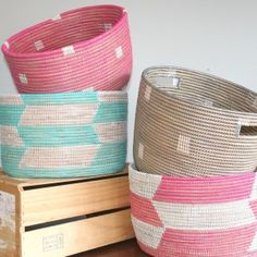 Beautifully woven baskets from Senegal made from recycled prayer mats. Want.