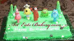 Yo Gabba Gabba custom hand made sugar figure butter cream birthday sheet cake with grass, trees, chocolate rocksand flowers.   #YoGabbaGabba
