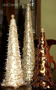 Tabletop Ribbon Christmas Trees  #Christmas  #Crafts