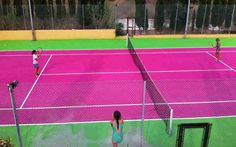 LOVE this pink tennis court!