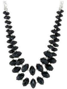 2 Row Color lock Necklace Black