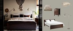 BRUSALI brown bed with bedside tables and BAROMETER nickel-plated floor/reading lamps