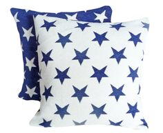 Stars Decorative Throw Pillows, Americana Country Accent Pillows, Winter Cushion Covers, Blue and White USA Stars, Boys Bedding 18x18. $35.00, via Etsy.