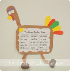 The Great Turkey Race by Steve Metzger - Summarizing Comprehension Activity and Craft