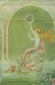 """ Playing With The Bubbles ""  ….  Postcard (Circa 1920's) ….. Artist:  Ida Rentoul Outhwaite, Australia (1888 - 1960)"