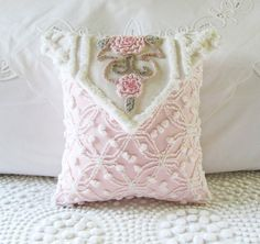 LOVE NOTE vintage chenille pillow cover 12 by moreChenilleChateau, $69.00