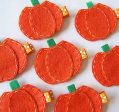 Orange Pumpkin Felt Hair Clip - Cute Fall and Halloween Clippies - seasonal felt hair bows