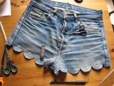 A creative cut-off! DIY scallop denim shorts.