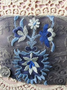 Vintage  French Art Deco Embroidered Applique Trim Silver Blue Colors For Cloche Hats Fine Heirloom Sewing Downton Abbey via Etsy