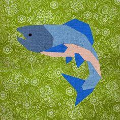 Salmon paper pieced block Pattern