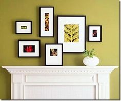 Check out this beautiful grouping. In order to compensate for the depth of the fireplace mantel, deep profile frames project the art forward. Notice how one frame is sitting on the mantel, adding even more dimension.