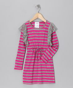 Gray & Fuchsia Stripe Dress - Toddler & Girls