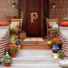 "Outdoor Fall Decor! Love the cork ""P""!"