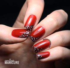 cruella de vil-esque mani - red with white and black leopard print swoopy french tips