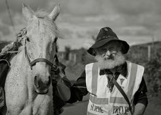 This man was on a walk along the complete west coast of Ireland on foot with his horse. He is a member of an institution to prevent suicide in Ireland, talking to people and relatives about their problems to help find a way out.   His daughter had committed suicide in 2010, afterwards he tried to take his own life twice. He failed twice.     He decided it meant he was given a second chance to live and he didn't want to live it for nothing.    For the full story please visit 500px. Thanks.