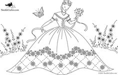 Free Old-Fashioned Embroidery Patterns | belle in garden with flowers (needlecrafter)