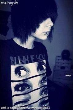 emo boy black hair & piercing