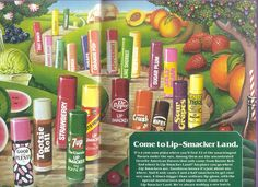 amazing lip-smacker magazine ad from the 70s... featuring all the original flavors!